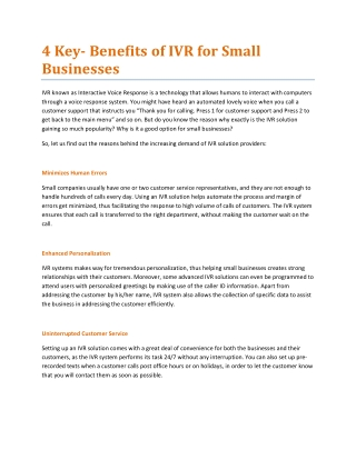 4 Key- Benefits of IVR for Small Businesses