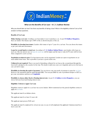 What are the Benefits of Car Loan – A C. S. Sudheer Review