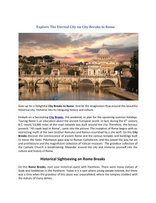 Explore The Eternal City on City Breaks to Rome