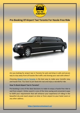 Pre-Booking Of Airport Taxi Toronto For Hassle-Free Ride
