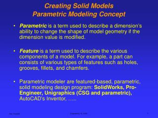 Creating Solid Models Parametric Modeling Concept