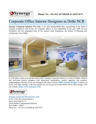 Top Office Interiors Firms in Delhi