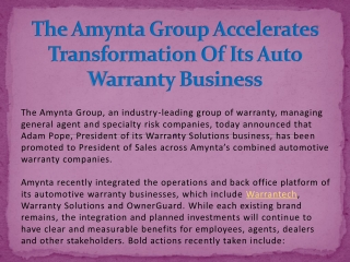The Amynta Group Accelerates Transformation Of Its Auto Warranty Business