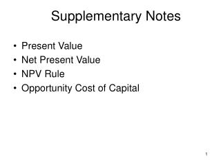 Supplementary Notes