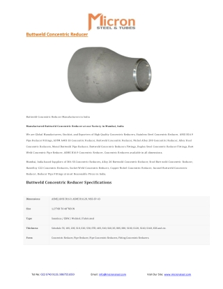 Buttweld Concentric Reducer