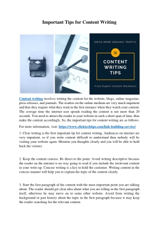 Important Tips For Content Writing
