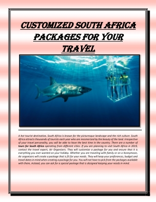 Customized south africa packages for your travel