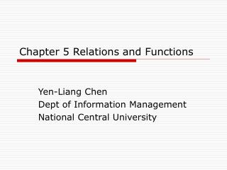Chapter 5 Relations and Functions