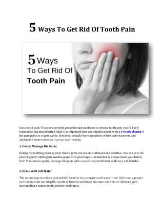 5 Ways To Get Rid Of Tooth Pain