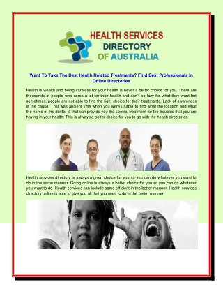 Want To Take The Best Health Related Treatments? Find Best Professionals In Online Directories