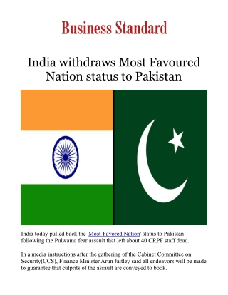India withdraws Most Favoured Nation status to Pakistan