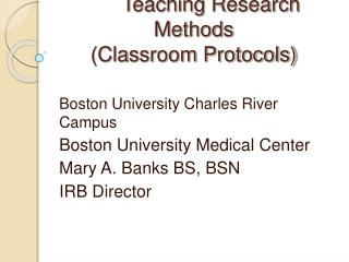 Teaching Research Methods (Classroom Protocols)