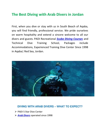 Learn Diving Courses in Aqaba from the Skilled Guide at Arab Divers