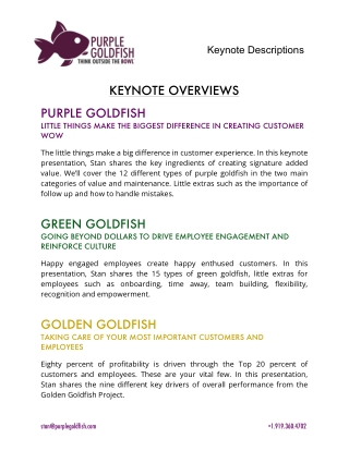 Stan Phelps - Six Keynote Descriptions