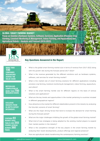Smart Farming Market Analysis (2018-2022)