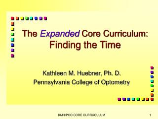 The Expanded Core Curriculum: Finding the Time