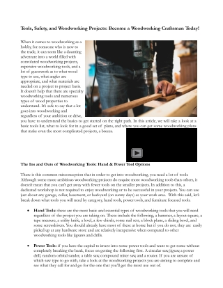 Tools, Safety, and Woodworking Projects