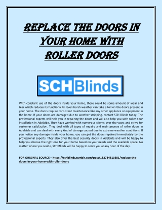 Replace the doors in your home with roller doors