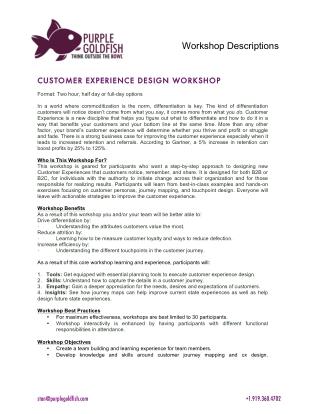 Stan Phelps Six Workshop Descriptions