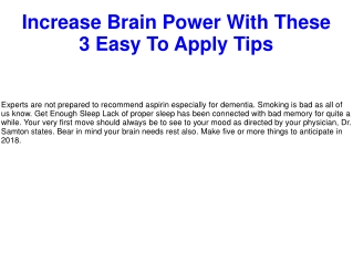 Increase Brain Power With These 3 Easy To Apply Tips