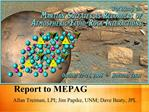 Report to MEPAG