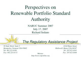 Perspectives on  Renewable Portfolio Standard Authority