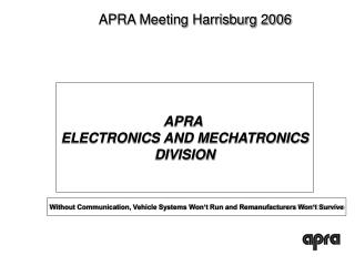 APRA  ELECTRONICS AND MECHATRONICS DIVISION