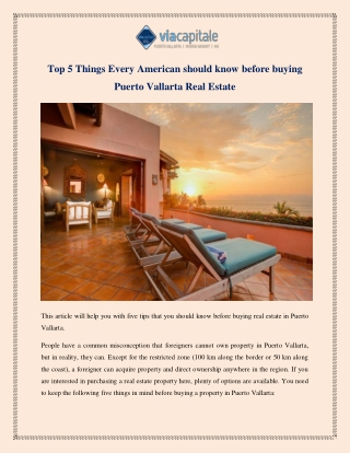 Top 5 Things Every American should know before buying Puerto Vallarta Real Estate