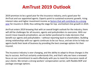 Am trust 2019 outlook