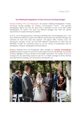Ace Wedding Photographers of Essex Announce Exciting Packages