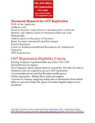 GST Registration, GST return, GST audit, GST refund, GST consultant