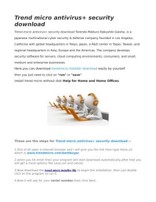 Trend micro antivirus security download
