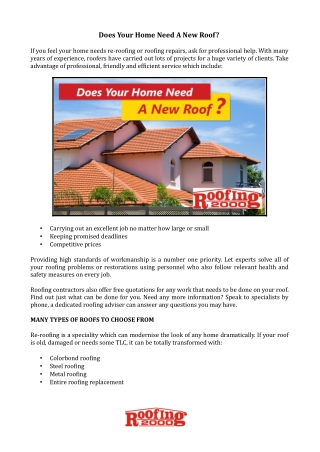 Does Your Home Need A New Roof ? Roofing2000