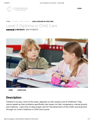 Level 3 Diploma in Child Care - Course Gate