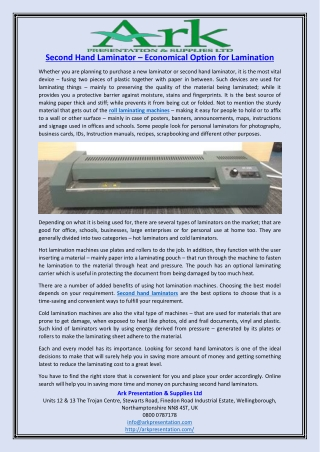 Second Hand Laminator – Economical Option for Lamination