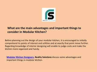 What are the main advantages and important things to consider in Modular Kitchen?