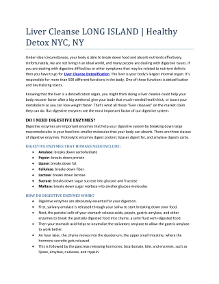 Liver Cleanse LONG ISLAND Healthy Detox NYC, New York - www.Getintegrativehealth.com