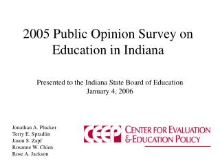 2005 Public Opinion Survey on Education in Indiana