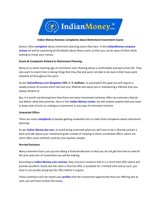 Indian Money Reviews Complaints about Retirement Investment Scams