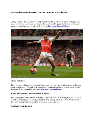 What makes soccer tips predictions important for soccer betting