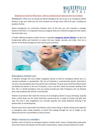 Emergency dentist Windsor – Dental emergencies should not be avoided