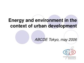 Energy and environment in the context of urban development