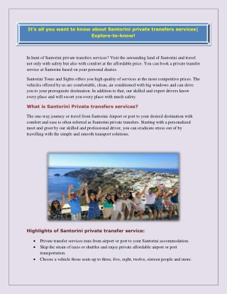 Book the Santorini Private Tours for an Unforgettable Touring Experience