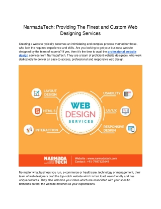 Providing The Finest and Custom Web Designing Services - Narmadatech