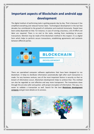 Important aspects of Blockchain and android app development