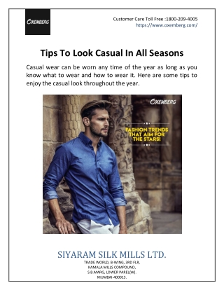 Tips To Look Casual In All Seasons