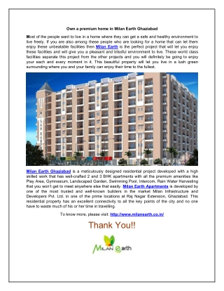 Own a premium home in Milan Earth Ghaziabad