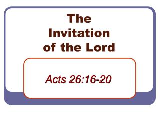 The Invitation of the Lord