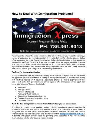 How to Deal With Immigration Problems?