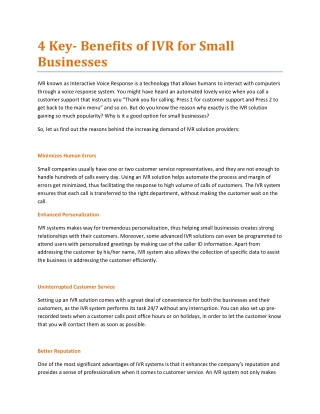 Benefits of IVR for Small Businesses
